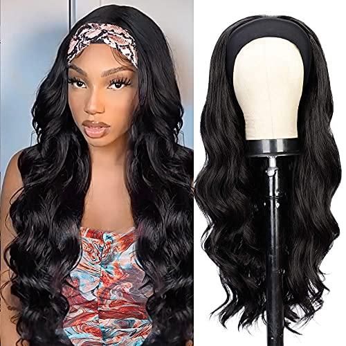 Isaic Headband Wigs for Women Long Wavy Headband Wig Glueless Synthetic Black Wig with Headband Heat Resistant 22 Inch