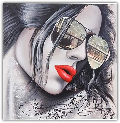 HHLSS Photos murales 80x80 cm sans Cadre Lunettes de Soleil Fille peintures murales Moderne Pop Art Mur Photos pour Salon