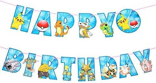 Pokemon Happy Birthday Banner Pikachu Banners Halloween Christmas Party Gifts Supplies Decorations product image