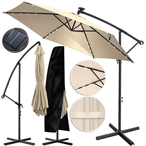 KESSER® Alu Ampelschirm LED Solar Ø350cm + Abdeckung mit Kurbelvorrichtung UV-Schutz Aluminium mit An-/Ausschalter Wasserabweisend - Sonnenschirm Schirm Gartenschirm Marktschirm Beige