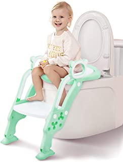 GrowthPic Potty Training Seat, Toddler Toilet Seat, Potty Chair with Splash Guard for Kids, Anti-skid, Soft Cushion, Potty Ladder, Green