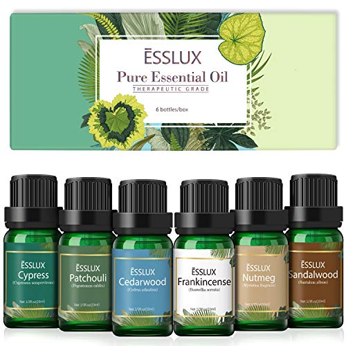 Essential Oils Set, Esslux Men Scents Collection with Cypress, Cedarwood, Patchouli, Sandalwood, Frankincense, Nutmeg Essential Oils for Diffuser, Massage, Winter Home Fragrance, Candles Making