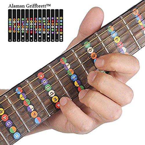 Alaman Griffbrett, Noten Lernen für Anfänger (Gitarren Griffbrett mit Karte Schwarz)