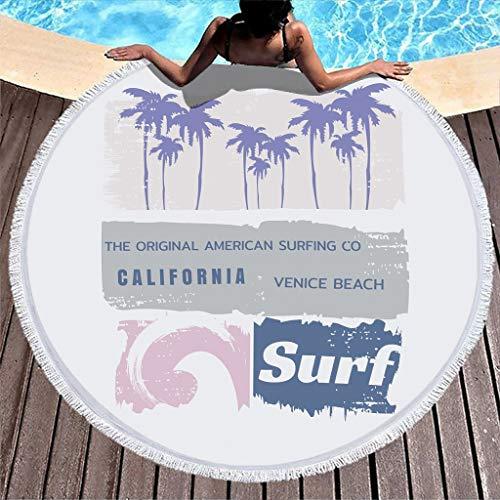 Gamoii Toalla de playa redonda California, Venice, playa, surf, pícnic, playa, secado rápido, ultraabsorbente, con borlas, para mujeres y niños, fitness y deporte, color blanco, 150 cm