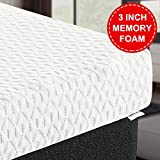 TEKAMON 3 Inch Cool Gel Memory Foam Mattress Topper,with Removable Hypoallergenic & Washable Cooling Bamboo Fiber Cover,CertiPUR-US Certified - Queen