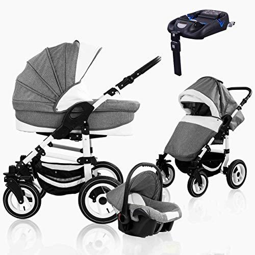 Bebebi Florenz | ISOFIX Basis & Autositz | 4 in 1 Kombi Kinderwagen | Luftreifen | Farbe: Galileo Lightgrey White
