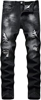 Men's Slim Fit Ripped Stretch Jeans Destroyed Skinny Pants with Holes