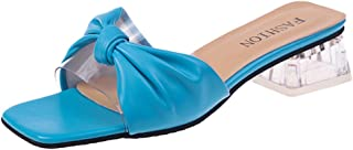 LOVOZO Women's Fashion High Heel Thick Sandals Transparent Wild Casual Slippers