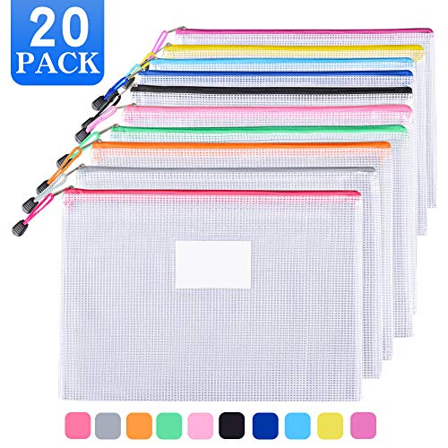 Sooez Plastic Mesh Zip File Document Folders, 20 Pack Letter Size A4 Size Zipper Document Pouch Waterproof Document Bag with Label Pocket & Zipper for School Office Home Travel Storage, Assorted Color