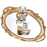 Mukily Mirrored Tray,Decorative Mirror for Perfume Organizer Jewelry Dresser Organizer Tray & Display,Vanity Tray,Serving Tray,9.8'' x 14''(Gold)