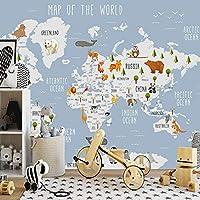 キッズルーム壁紙漫画世界地図子供部屋リビングルーム寝室壁画壁紙アートの3D写真壁紙-400x280cm