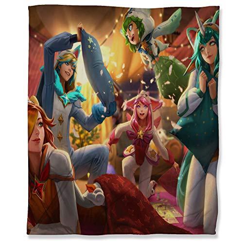 ARYAGO Flannel Fleece Velvet Plush Throw Blanket 100 x 130 cm, League Legends Soft Plush Throw Blanket for Couch Sofa Bed, Pajama Guardian Ezreal Lulu Lux Miss Fortune Soraka