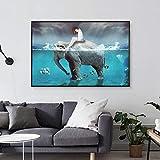wZUN Cuadro en Lienzo Paisaje nórdico Arte Abstracto niña y Elefante océano Cuadro de Pared para...