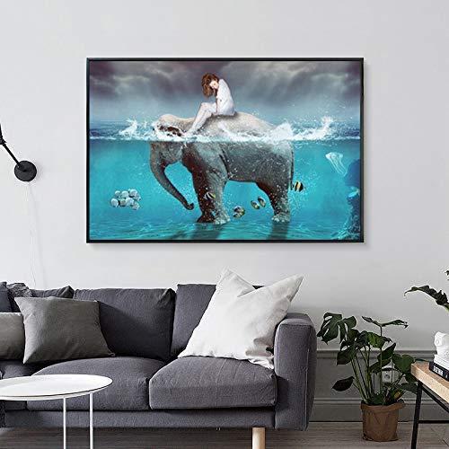 wZUN Cuadro en Lienzo Paisaje nórdico Arte Abstracto niña y Elefante océano Cuadro de Pared para Sala de Estar decoración del hogar 60x90 Sin Marco