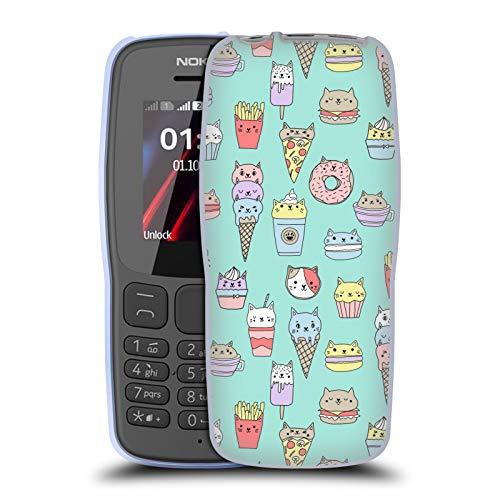 Officiële Andrea Lauren Design Kattenvoer Voedsel Patroon Soft Gel Case Compatibel voor Nokia 106 (2018)