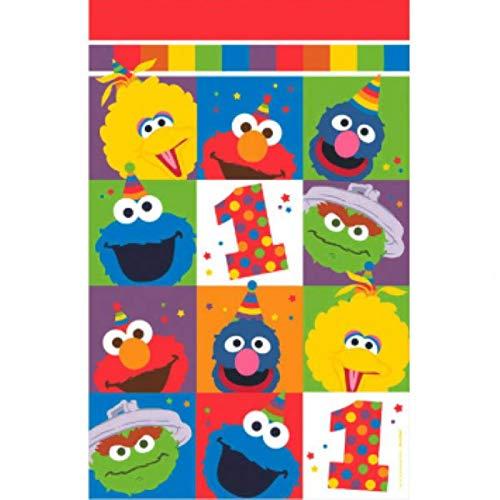 amscan 571835 Sesame Street Elmo Turns One Plastic Table Cover, Birthday 54' x 96'