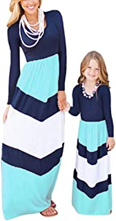 Mommy Daughter Outfits Summer Sleeveless Striped Casual Print Tank Maxi Long Dress