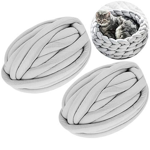 2 Pack Super Thick Chunky Vegan Yarn 44 Yards, Diameter 1 Inch Chunky Knit Yarn, Washable Cotton Tube Yarn, Soft Jumbo Tubular Yarn for Arm Knitting DIY Handmade Blankets, Cat Bed