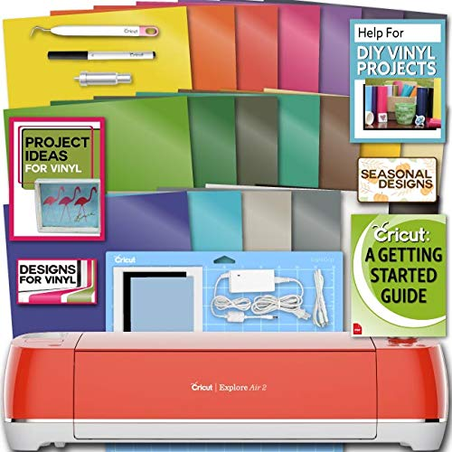 Cricut Explore Air 2 Machine Bundle 20 Sheets Vibrant Vinyl Pack Tool Designs Guide