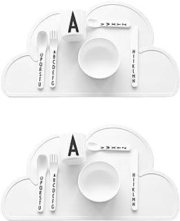 Ciaoed Gel de Silicium Placemat Simple Mobile Dinner Plate Nuage Forme Baby Meals Table de salle à manger (Eco-alimentaire...