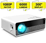Punnkk Projector X10 Native 1080P HD Video Projector, 6000 Lumens up to 300' Image Display Ideal for PPT Business Presentations Home Theater Entertainment Parties Games