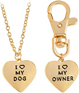 Meiligo Fashion 2 Pcs Best Friends Friendship Love Heart Necklace Key Chain Owner and Dog Letter Pendant I Love My Dog Necklace Jewelry