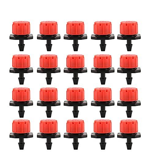 100 unidades de aspersor de goteo para riego por goteo de 1/4 pulgadas ajustables, micro herramienta de riego de goteo ajustable de plástico para huertos o parterres (100 unidades)