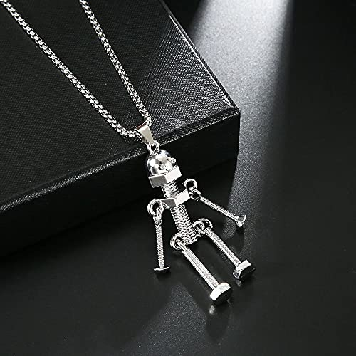 Korean Style Sweater Chain,Fashion Pendant Necklace Durable Punk Alloy Choker Jewelry Accessories(Screw Man)