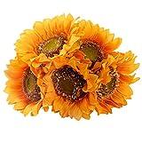 StarLifey Garden Helianthus Girasoles Artificiales 5 Cabezas para la Cocina casera Bride Holding Flowers Floral Decor (Amarillo)