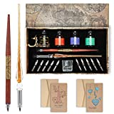 Calligraphy Pens 20 Piece Calligraphy Set for Beginners Handcrafted Glass Dip Pen Wood Calligraphy Pen with Inks, Nibs,Holder