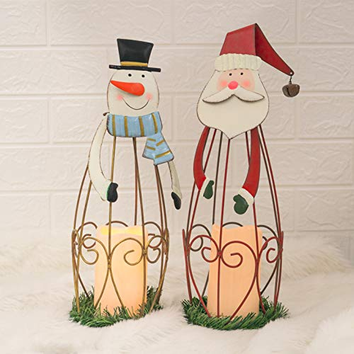 FUNPENY Set of 2 Christmas Snowman and Santa Claus Shaped Lights, Realistic and Bright Flameless Candle LED TeaLight for Christmas Party Home Yard Indoor Outdoor Decoration