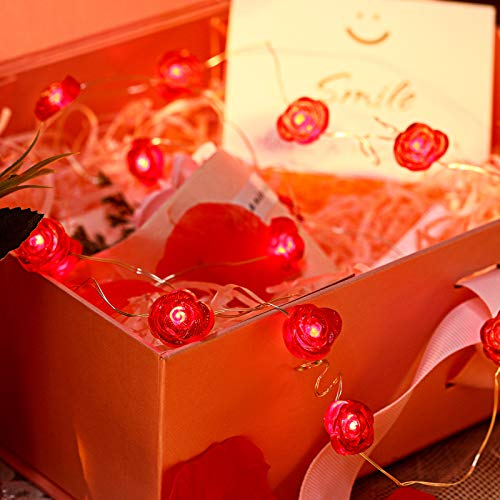 Red Roses Valentine's Day String Lights 10 ft 30 LEDs Battery Powered Valentine LED String Light with 8 Flicker Modes Remote Control Romantic Valentine Decor for Wedding, Engagement Party, Anniversary