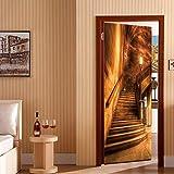 SJKstore Türposter selbstklebend 3D Golden & Treppen