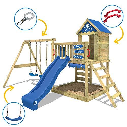 WICKEY Spielturm Klettergerüst Smart Cave mit Schaukel & blauer Rutsche, Baumhaus mit Sandkasten, Kletterleiter & Spiel-Zubehör - 3