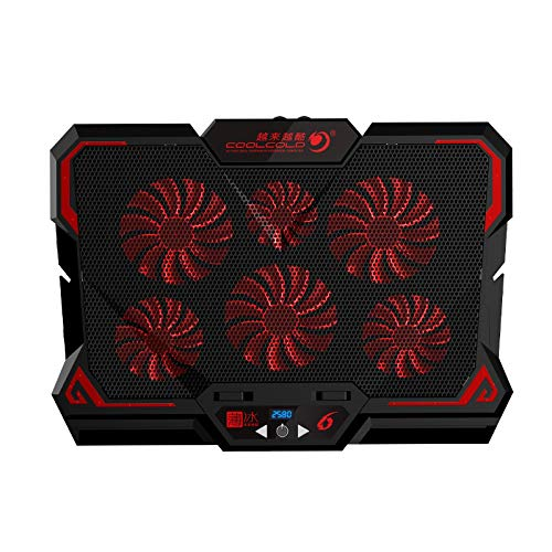 anruo 17 pulgadas de juegos de ordenador portátil enfriador de seis ventiladores de pantalla LED 2 puertos USB portátil almohadilla de refrigeración soporte para portátil Rojo
