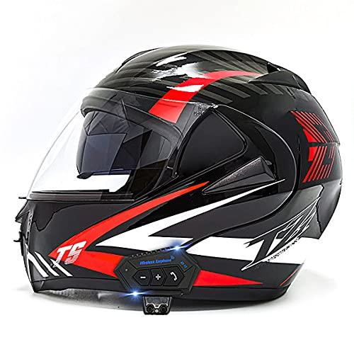 YALIXING Casco Moto Integral ECE/Dot Homologado Casco de Moto Scooter con Doble Visera Cascos Modular Flip Up Motocicleta Transpirable Y Cómodo para Mujer Hombre Adultos(Size:L(59-60CM),Color:B-2)