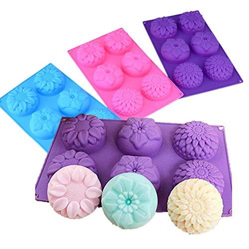 6 trous violet fleur en forme de silicone moule bricolage à la main bougie gâteau cuisson savon moules moule outils de cuisine