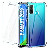 Leathlux Funda Huawei P Smart 2020 + 2 Pack Cristal Templado Protector de Pantalla, Ultra Fina Silicona Transparente TPU Carcasa Anti-Choque Anti-arañazos Carcasa Huawei P Smart 2020 6.21'