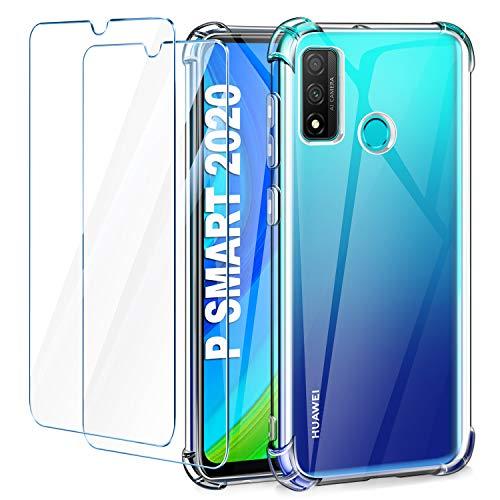 "Leathlux Funda Huawei P Smart 2020 + 2 Pack Cristal Templado Protector de Pantalla, Ultra Fina Silicona Transparente TPU Carcasa Anti-Choque Anti-arañazos Carcasa Huawei P Smart 2020 6.21"""