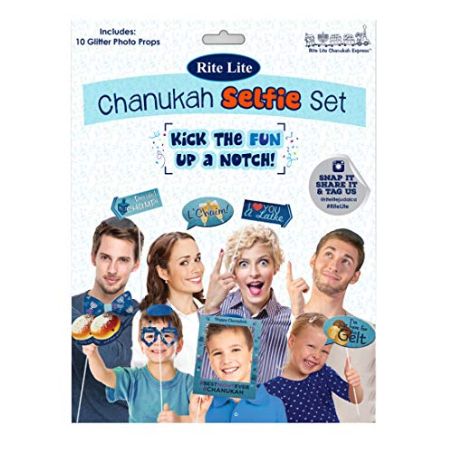 Rite Lite Chanukah Selfie Set/Photobooth Props Hanukkah Gift & Chanukah Photo Booth Props Frame Chanukah Party Selfie Picture Frame Group Shot Props - Pack Of 10 for Hanukkah Party Family Dinner