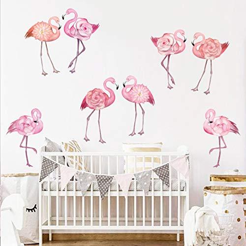 decalmile Wandtattoo Rosa Flamingo Wandaufkleber Blume Flamingo Wandsticker Babyzimmer Kinderzimmer Mädchen Badezimmer Wohnzimmer