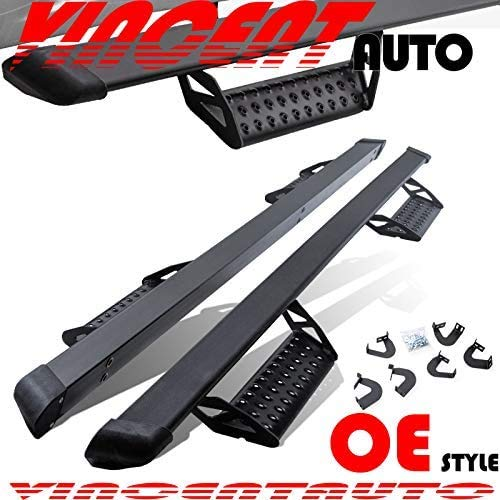 Door Step Side Step Running Boards Nerf Bars Fits 2007-2020 Toyota Tundra Crewmax Pickup 4 Full Size Doors,Black Powder Coated,3 Inch,Hoop Style,Off Road Exterior Accessories 2 Pieces