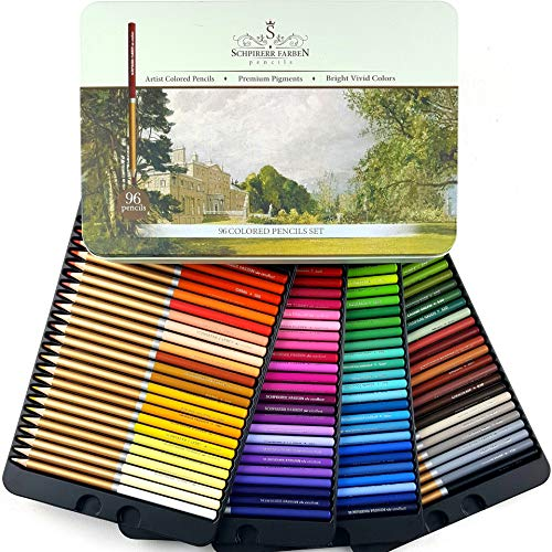 SCHPIRERR FARBEN 96 Color Pencil Set Professional Named And Numbered, Oil Based Soft Core, Ideal For Adult Crafts, Artists,...