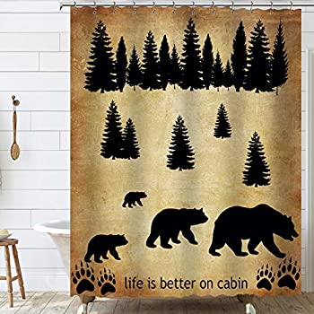 Cabin Bear Shower Curtain Wild Animal in Forest Shower Curtain Set & Wild Life Polyester Fabric Waterproof Shower Curtains with Hooks 72 x 72 Inch