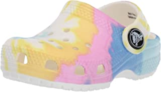 Crocs Kids' Classic Tie-Dye Graphic Clog | Casual Water or Beach Shoe, White/Multi, 1 M US Little Kid