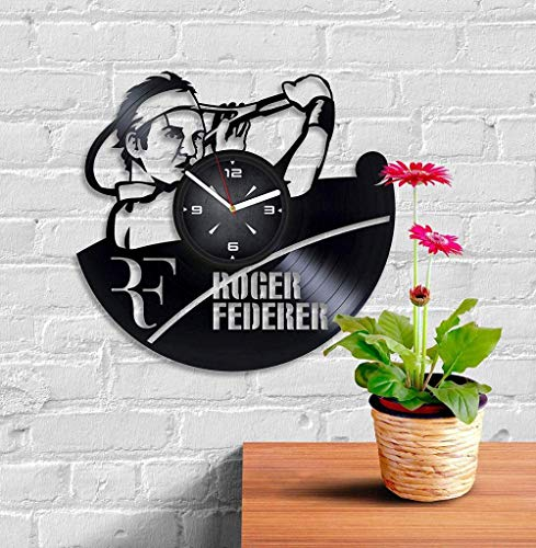 TIANZly Vinyl Roger Federer Tennis Vinyl Record Wall Clock. Decor for Bedroom Living Room Kids Room. for Him or Her. Christmas Birthday Holiday Housewarming Present.