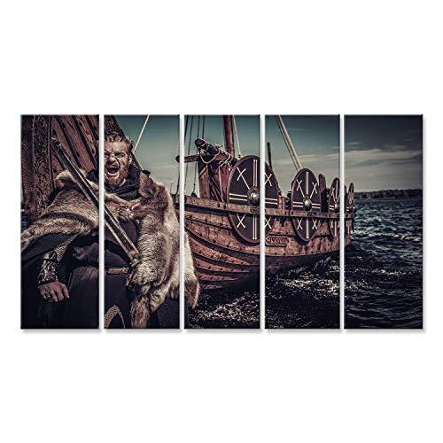 Cuadro Cuadros Vikingo guerrero con espada cerca del Drakkar mar. Impresión sobre lienzo - Formato Grande - Cuadros modernos DUM