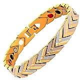 TENER Bracciale da Uomo Bracciale in Acciaio Inossidabile Europa Rosso Blu Oro Bracciale da Uomo in Acciaio Cinturino a V Color Argento a Tricolore (Colore: Oro)