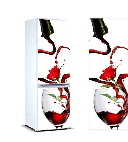 Pegatinas Vinilo para Frigorífico Vino Copa Clavel | Varias Medidas 185 x 70 cm | Adhesivo Resistente y de Fácil Aplicación | Pegatina Adhesiva Decorativa de Diseño Elegante