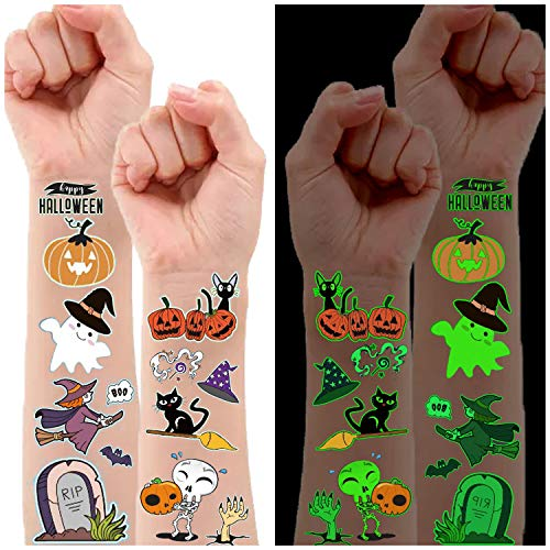 Partywind 10 Sheets Luminous Halloween Temporary Tattoos for Kids, Glow Halloween Decorations Birthday Party Favors Supplies, Halloween Fake Tattoos Goodie Bag Fillers Games Accessories for Party